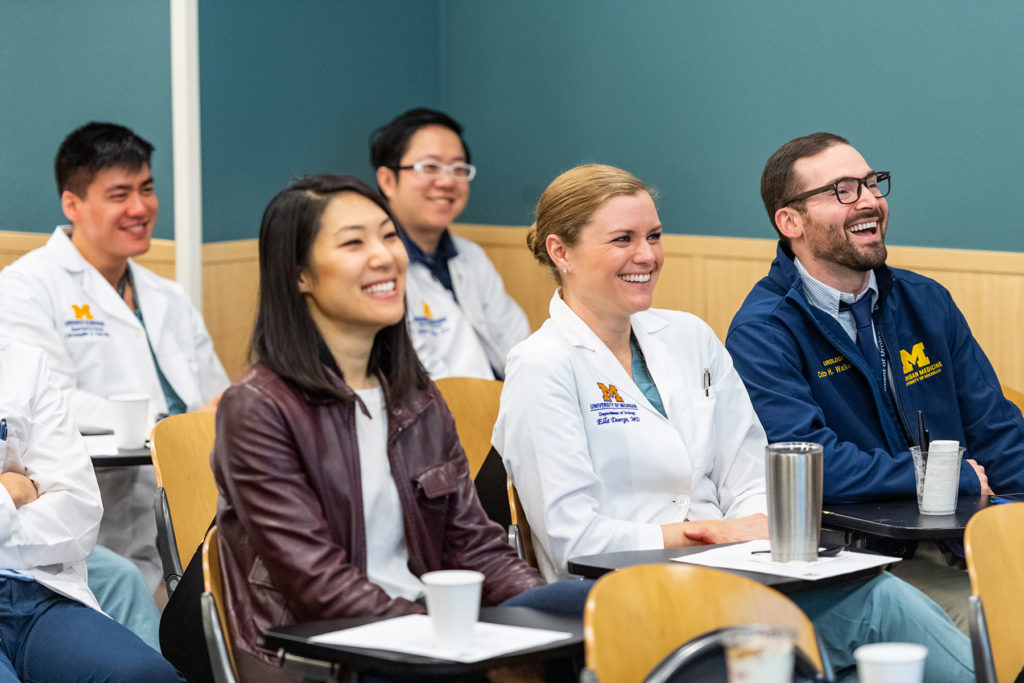Urology Grand Rounds Conference: Residents Drs. Christopher Tam, Rita Jen, Robert Wang, Ella Doerge and Colton Walker (left to right)