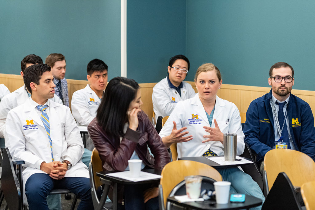 Urology Grand Rounds Conference: Residents Drs. Juan Andino, Michael Fenstermaker, Christopher Tam, Robert Wang, Rita Jen, Ella Doerge and Colton Walker
